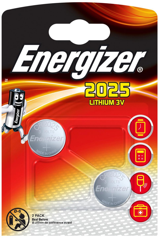 Батарейка Energizer Lithium, тип CR2025, 3V, 2 шт батарейка cr2032 energizer lithium cr2032 3v 4 штуки