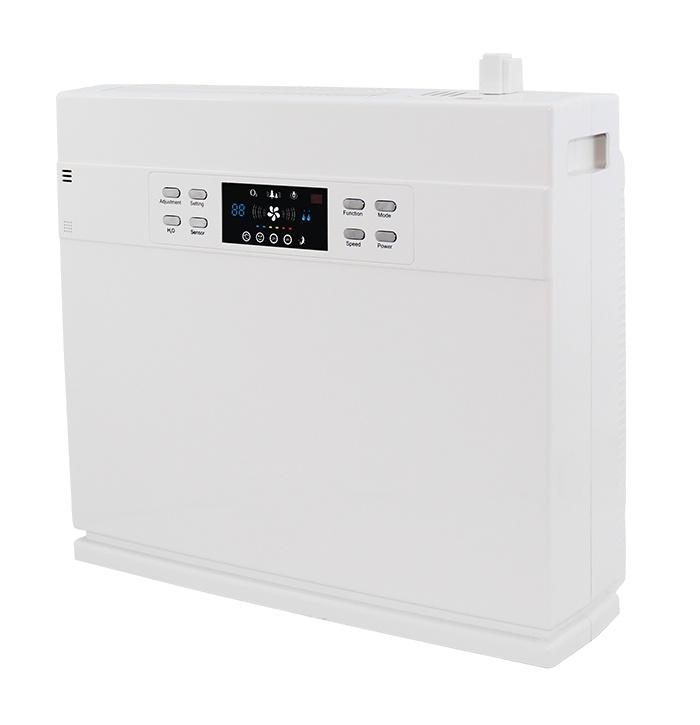 Очиститель воздуха STORMHOLD 2в1 + увлажнительSH-868Очиститель воздуха STORMHOLD модель H-НO5 предназначен для очистки воздуха в больших помещениях до 33-38 м2.Технические характеристики:- Питание: 220 В, 50 Гц;- Потребляемая мощность: 75 Вт;- Уровень шума: < 40Дб (A);- Объем бака с водой: 2.4л;- Расход воздуха: 300 м3/ч;- Эффективная площадь очистки: 33-38 м2;- Кол-во отрицательных ионов: >8.0*10^6 ион/см3;- Габариты: 452*233*438;- Масса: 8.2 кгФильтры:- HEPA-фильтр - изготавливается из специального волокнистого материала, сложенного в виде гармошки. Способен удерживать до 99,97 % частиц пыли и аллергенов.- Активный угольный фильтр - обеспечивает удаление запахов и вредных химических соединений.- Фотокаталитический фильтр - способен расщеплять органические загрязнения, запахи, вредные химические соединения и убивать микроорганизмы. В основе его работы лежит свойство ультрафиолетового излучения расщеплять сложные вещества в присутствии катализатора. Фотокаталитический фильтр обладает высокой эффективность и долгим сроком службы.Особенность модели:- 2в1 увлажнитель и очиститель;- Сенсорный дисплей;- Индикация качества воздуха, температуры и влажности воздуха в помещении;- Аудит качества воздуха и рекомендация выбора режима очистки;- Рекомендация замены фильтра в зависимости от его загрязнения;- 3 уровней скорости очистки воздуха;- Таймер до 12ч;- Защита от детей.Включены опции:- Дистанционное управление;- Увлажнение воздуха;- Ультрафиолетовая лампа.Хотите дышать чистым воздухом?Хотите, чтобы тополиный пух не летал по всей...