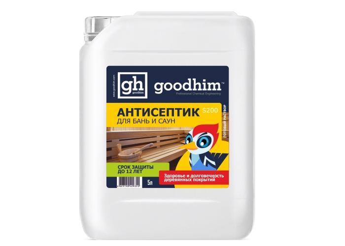 Антисептик для бань и саун GOODHIM S200, 5 л деревозащитный состав для бань и саун neomid professional 200 500 мл