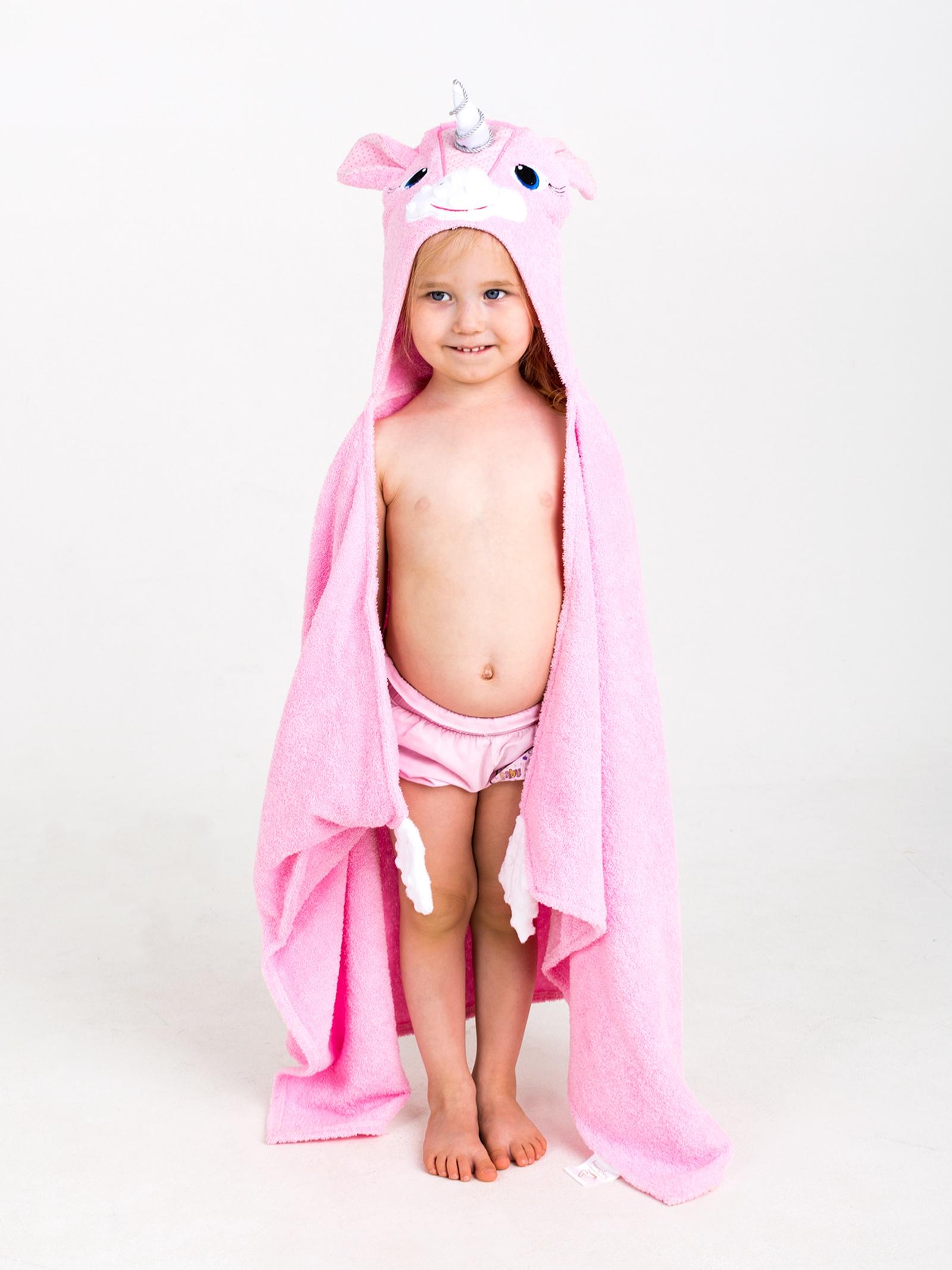 Полотенце детское BabyBunny Полотенце с капюшоном - Единорожка, розовый