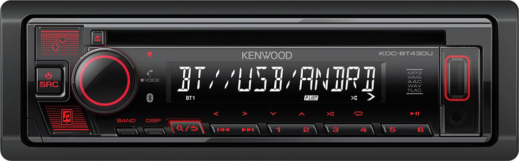 Автомагнитола CD Kenwood KDC-BT430U автомагнитола cd kenwood kdc 130ug 1din 4x50вт