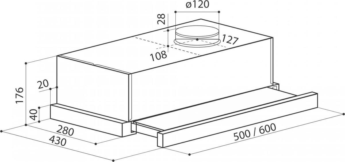 Вытяжка встраиваемая Lex Hubble 600 RAW, нержавеющая сталь/бук неокрашенный LEX