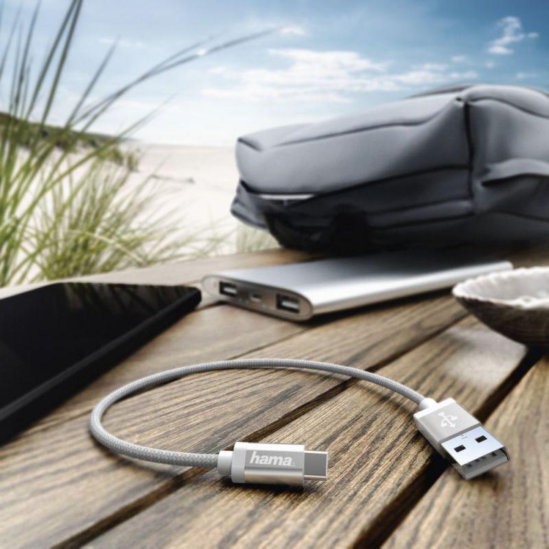 Кабель Hama USB Type-C (m) USB A(m), 0,2 м, 00178284 кабель mobiledata usb usb type c 1 5 м нейлоновая оплётка белый
