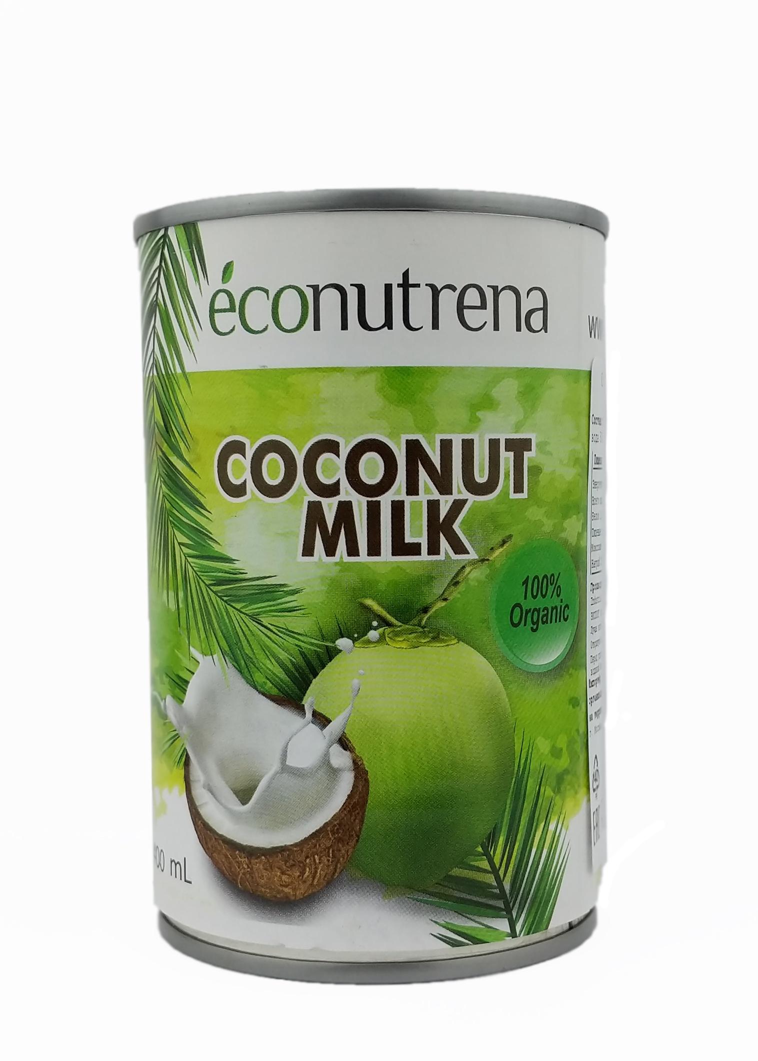 Растительное молоко Econutrena Кокосовое органическое, жирность 17%, без стабилизаторов Жестяная банка, 400