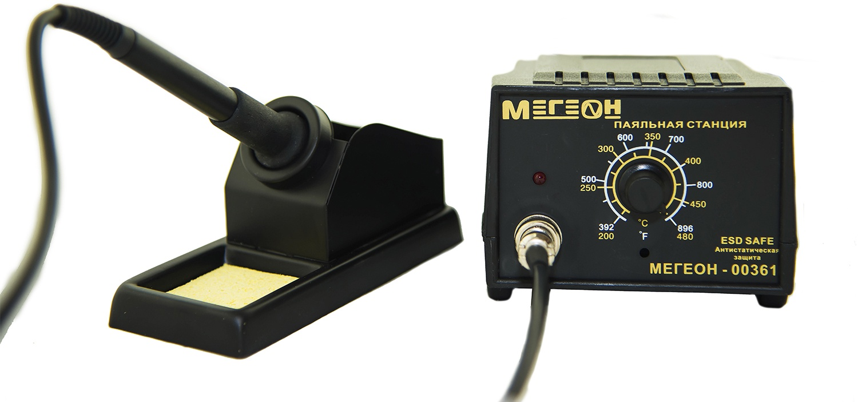 Паяльная станция Мегеон 00361, черный цена в Москве и Питере