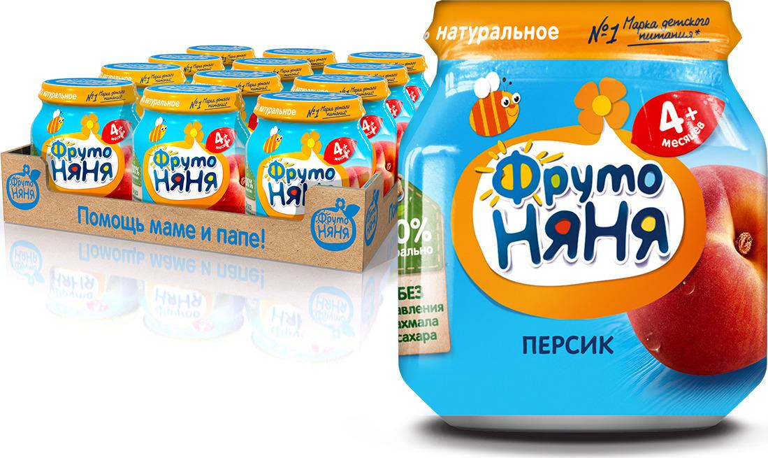 ФрутоНяня пюре из персиков с 4 месяцев, 12 шт по 100 г