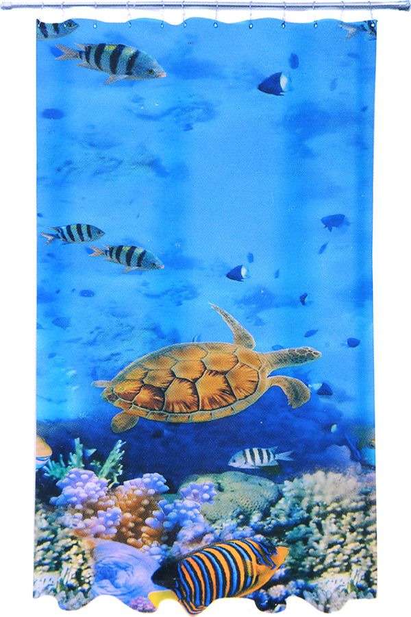 Фото - Штора для ванной Vetta Подводный мир, 461-480, синий, 180 х 180 см шторка для ванной tatkraft seagull цвет белый синий 180 см х 180 см