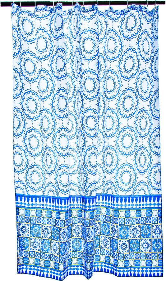 Фото - Штора для ванной Vetta Синий орнамент, 461-436, синий, 180 х 180 см шторка для ванной tatkraft seagull цвет белый синий 180 см х 180 см