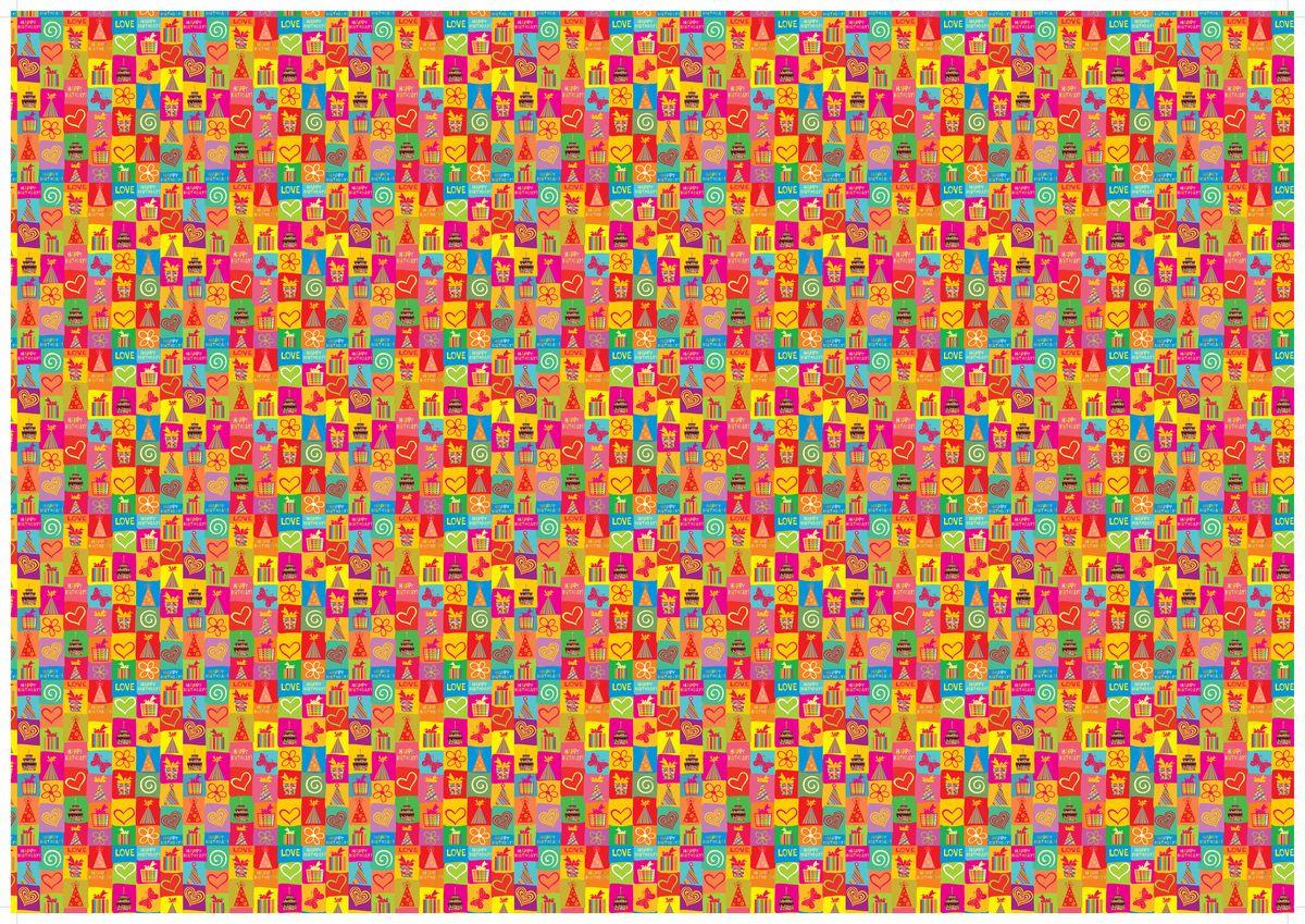 """Упаковочная бумага Бриз """"К Дню Рождения"""", 1188-011, разноцветный, 70 х 100 см"""