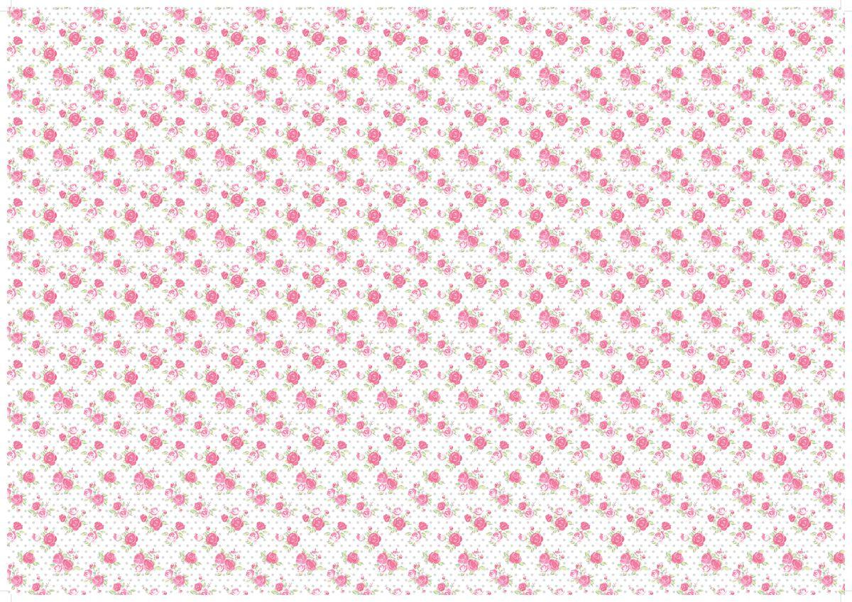 """Упаковочная бумага Бриз """"Розы на белом"""", 1188-017, белый, розовый, 70 х 100 см"""