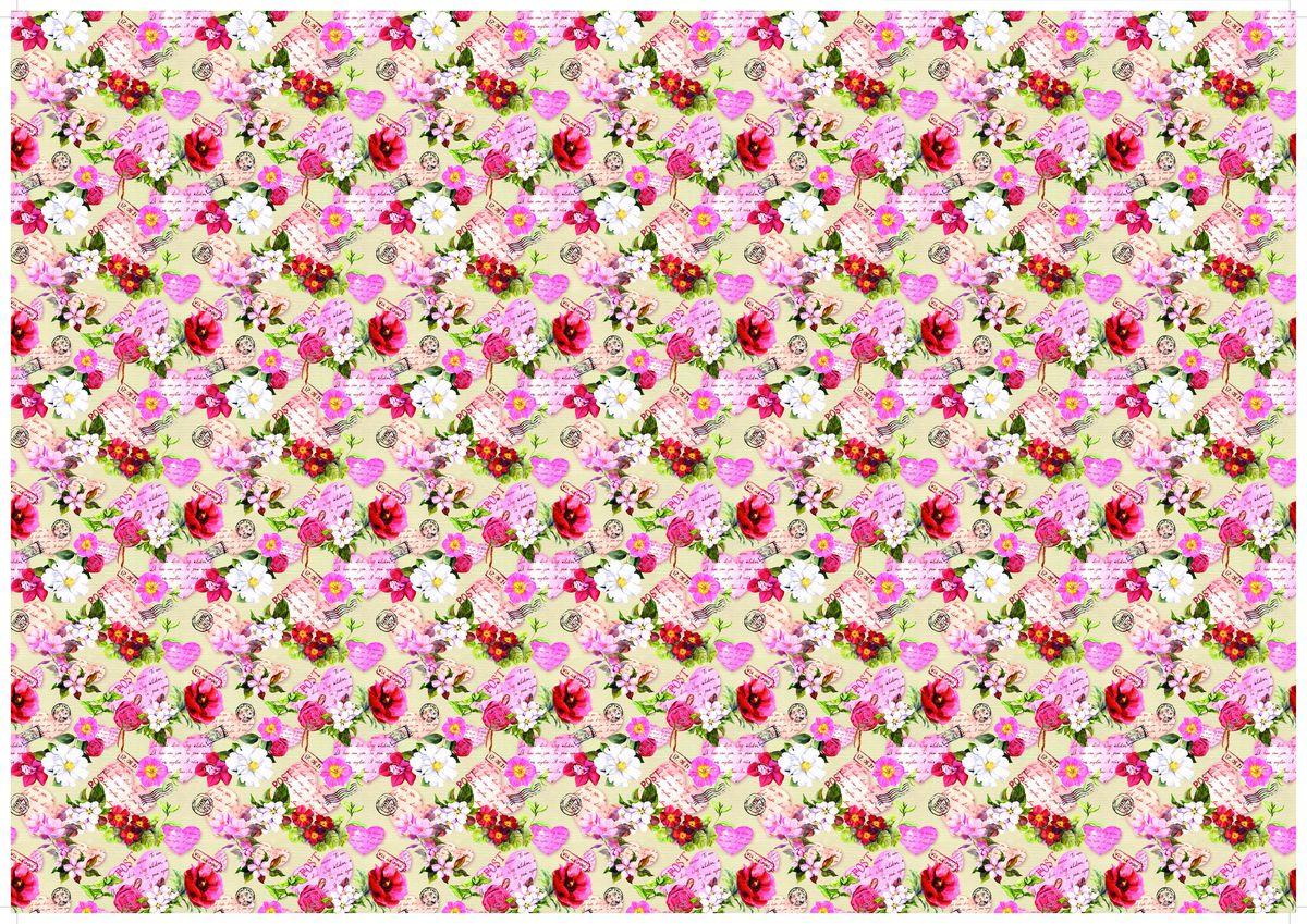 """Упаковочная бумага Бриз """"Цветы и письма"""", 1188-013, разноцветный, 70 х 100 см"""