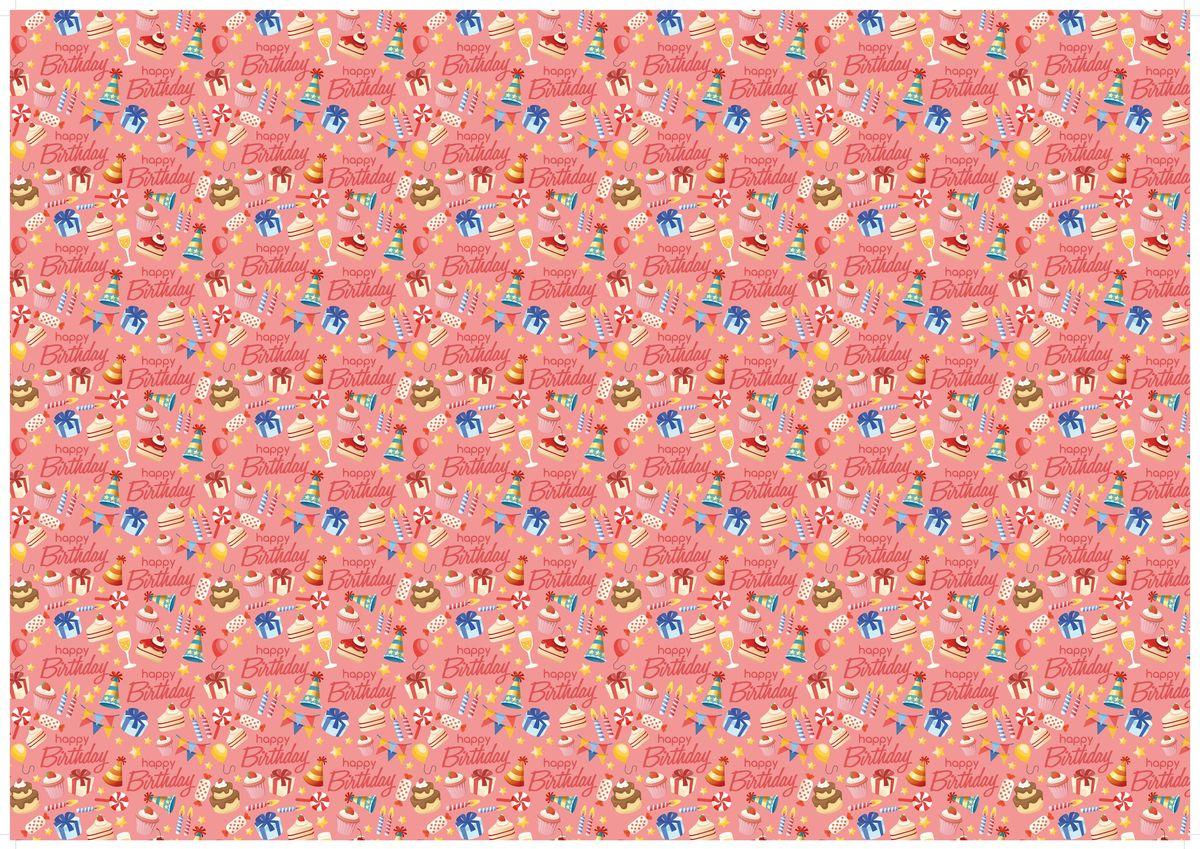 """Упаковочная бумага Бриз """"День Рождения"""", 1188-010, розовый, 70 х 100 см"""