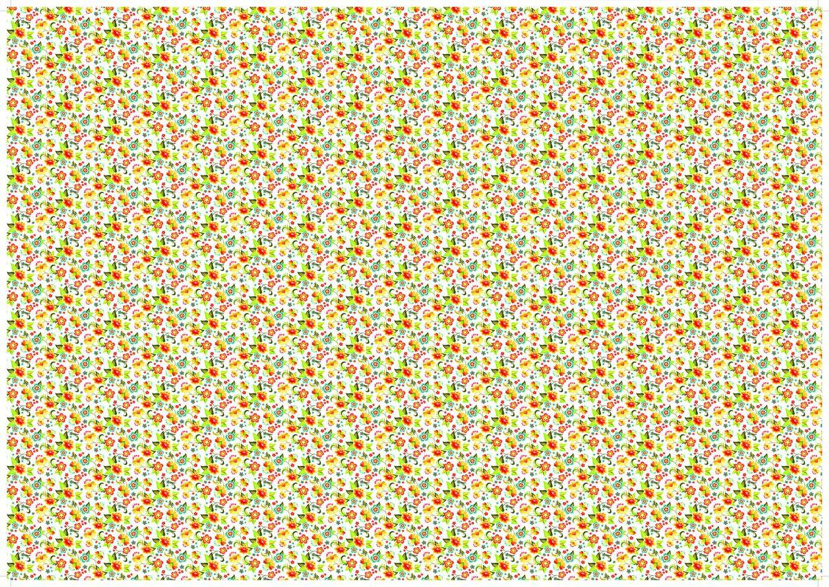 """Упаковочная бумага Бриз """"Цветы на белом"""", 1188-018, разноцветный, 70 х 100 см"""