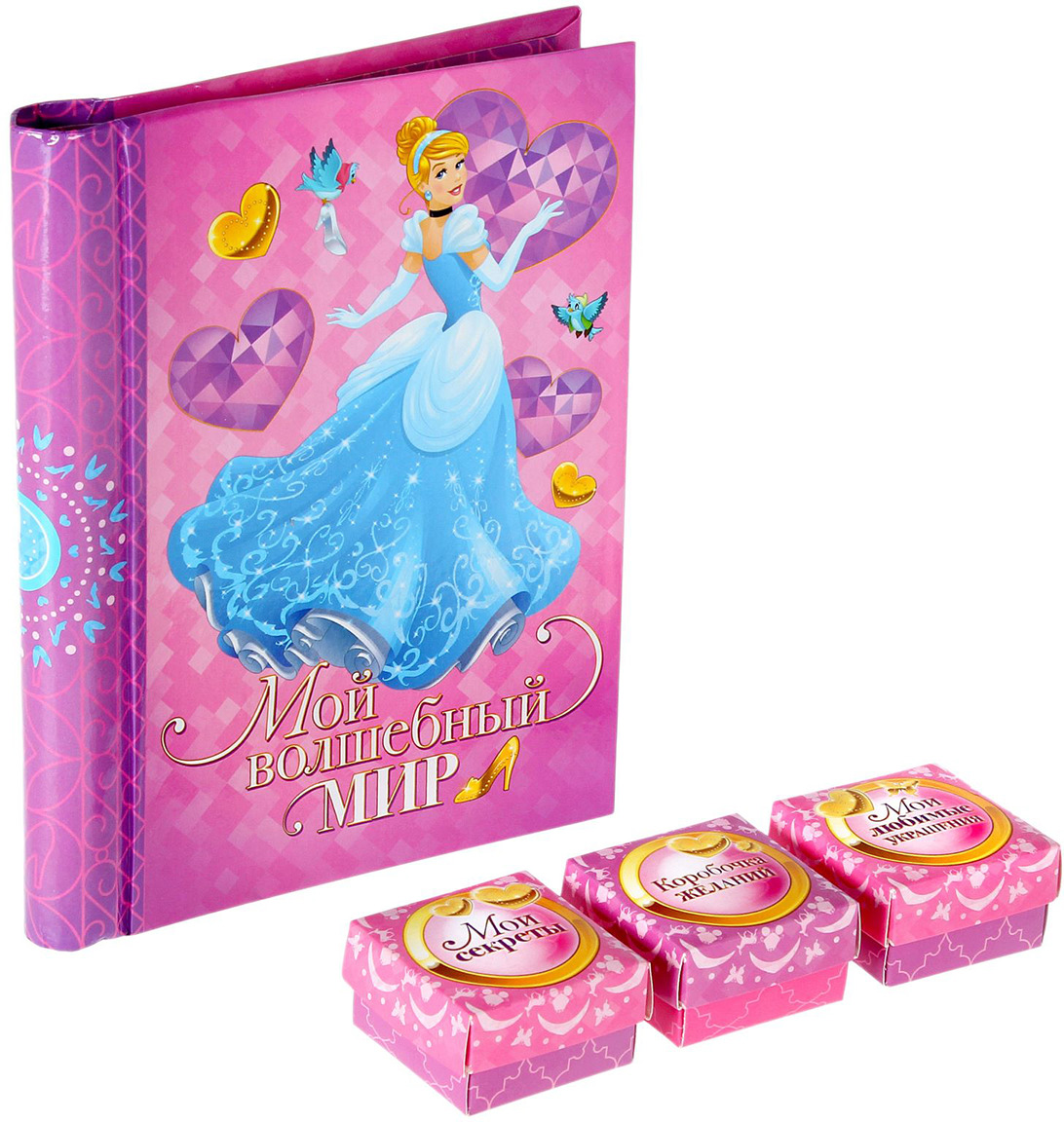 Сувенирный набор Disney Прекрасная принцесса!, фотоальбом магнитный, 10 листов + 3 памятных коробочки + наклейки, 1512217, мультиколор сувенирный набор disney наш чудесный малыш фотоальбом памятные коробочки в пенале 1903139 мультиколор