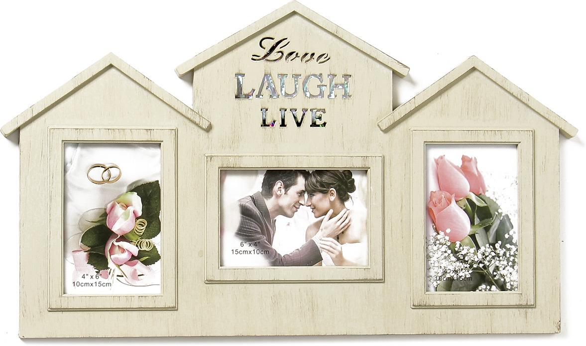Фоторамка Дом - жизнь, смех, любовь, на 3 фото, 3930150, бежевый, 55 х 33 х 2,5 см
