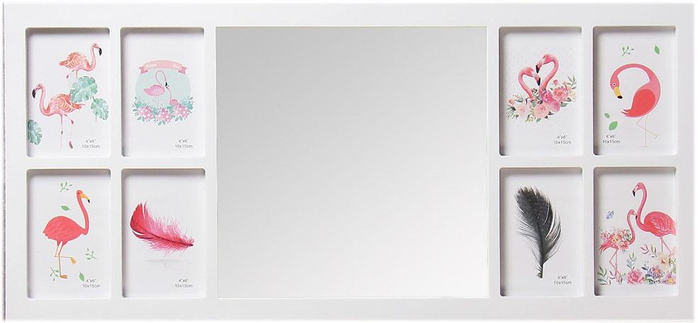 Фоторамка Стиль, на 8 фото, с зеркалом, 4146854, белый, 75 х 36 х 2 см