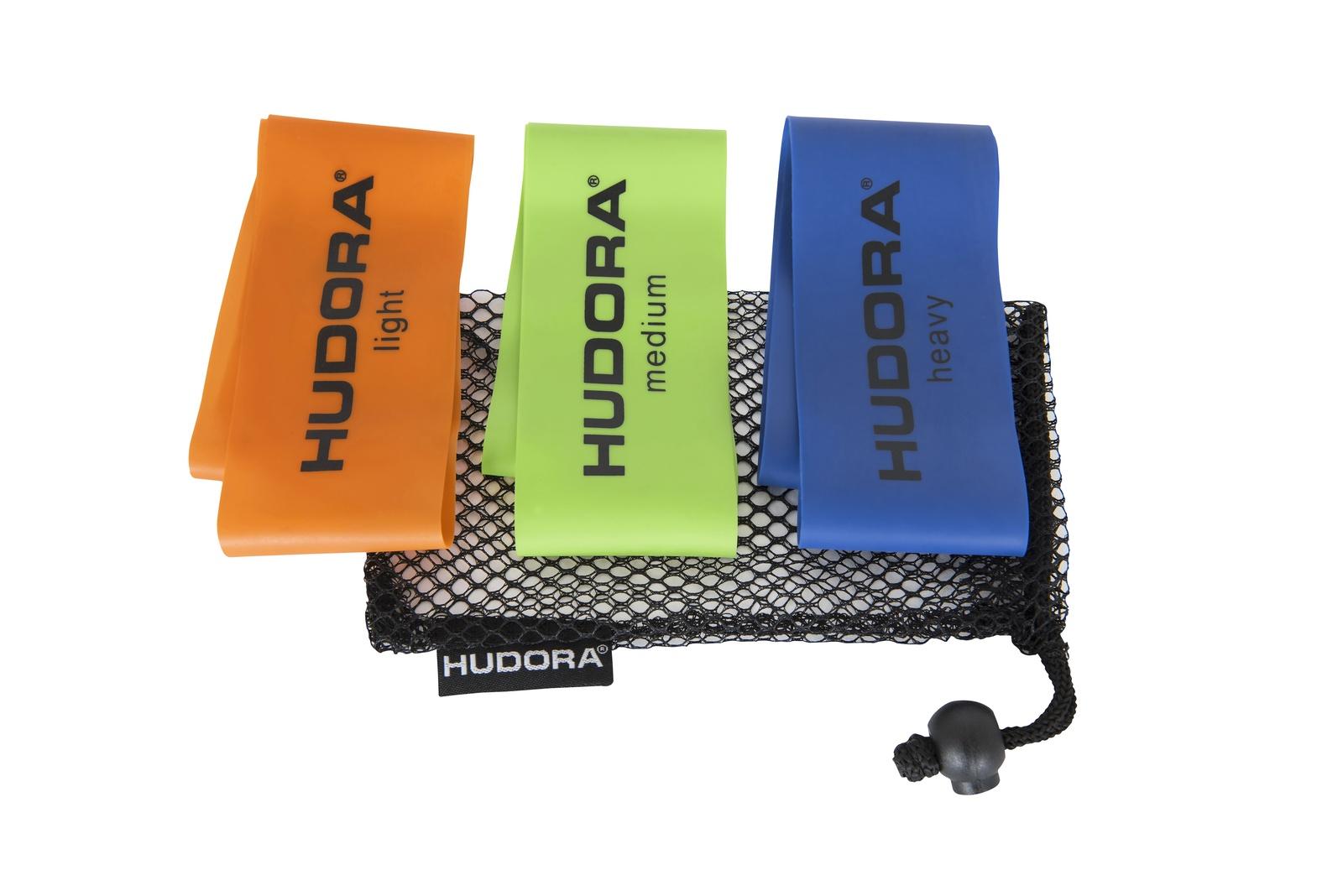Гимнастическая лента Hudora Mini, синий, салатовый, оранжевый