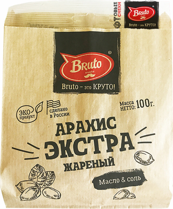 Арахис BRUTO экстра жареный с солью, 100 г peyman арахис жареный соленый 40 г