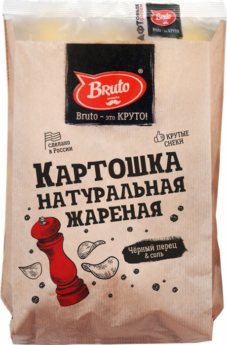 Картошка жареная BRUTO с перцем и солью, 70 г чипсы bruto plast сметана лук 90 г