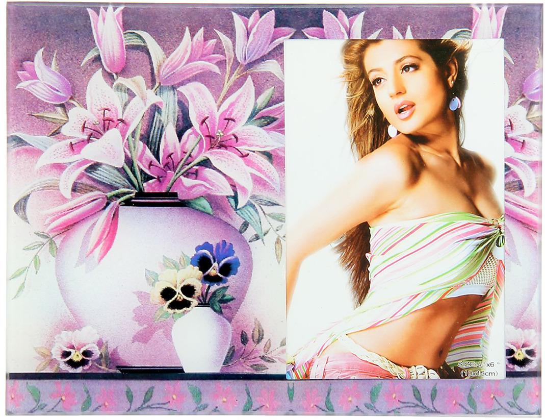 Фоторамка Sima-land Два букета в вазах, цвет: фиолетовый, 10 х 15 см фоторамка sima land ажурная ветвь на 3 фото цвет черный 855791