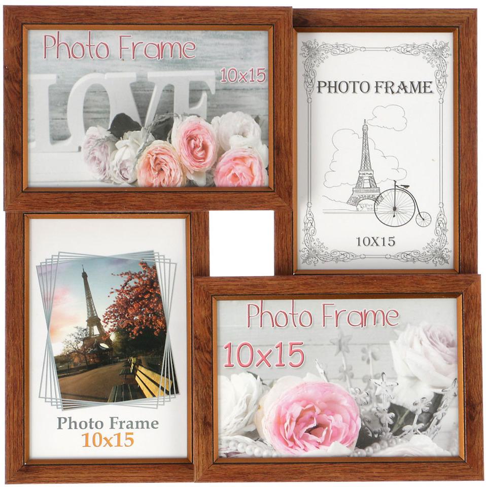 Фоторамка Темный орех, на 4 фото, 3573204, 29 х 29 см, размер фото 10 х 15 см украшения 30 х годов фото