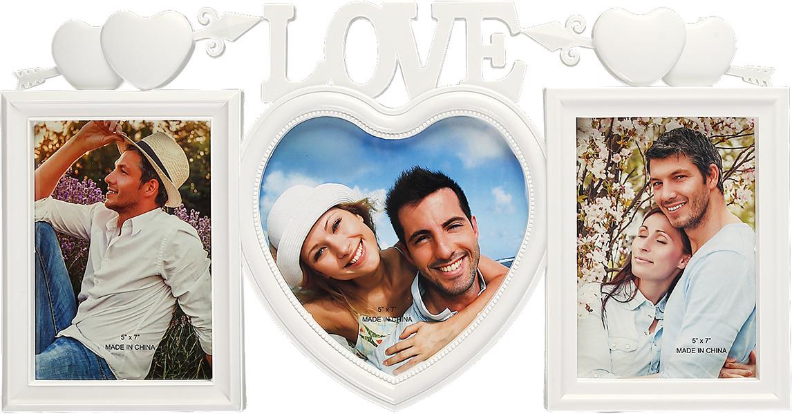 Фоторамка Любовь - двойное сердце, на 3 фото, 3938486, белый, 26 х 50,5 х 2,5 см