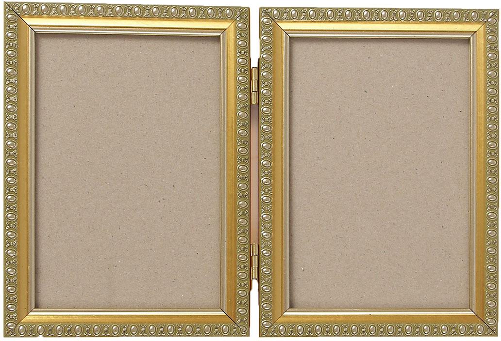 Фоторамка, двойная, 3983990, золотой, 17,5 х 12,5 х 2,5 см