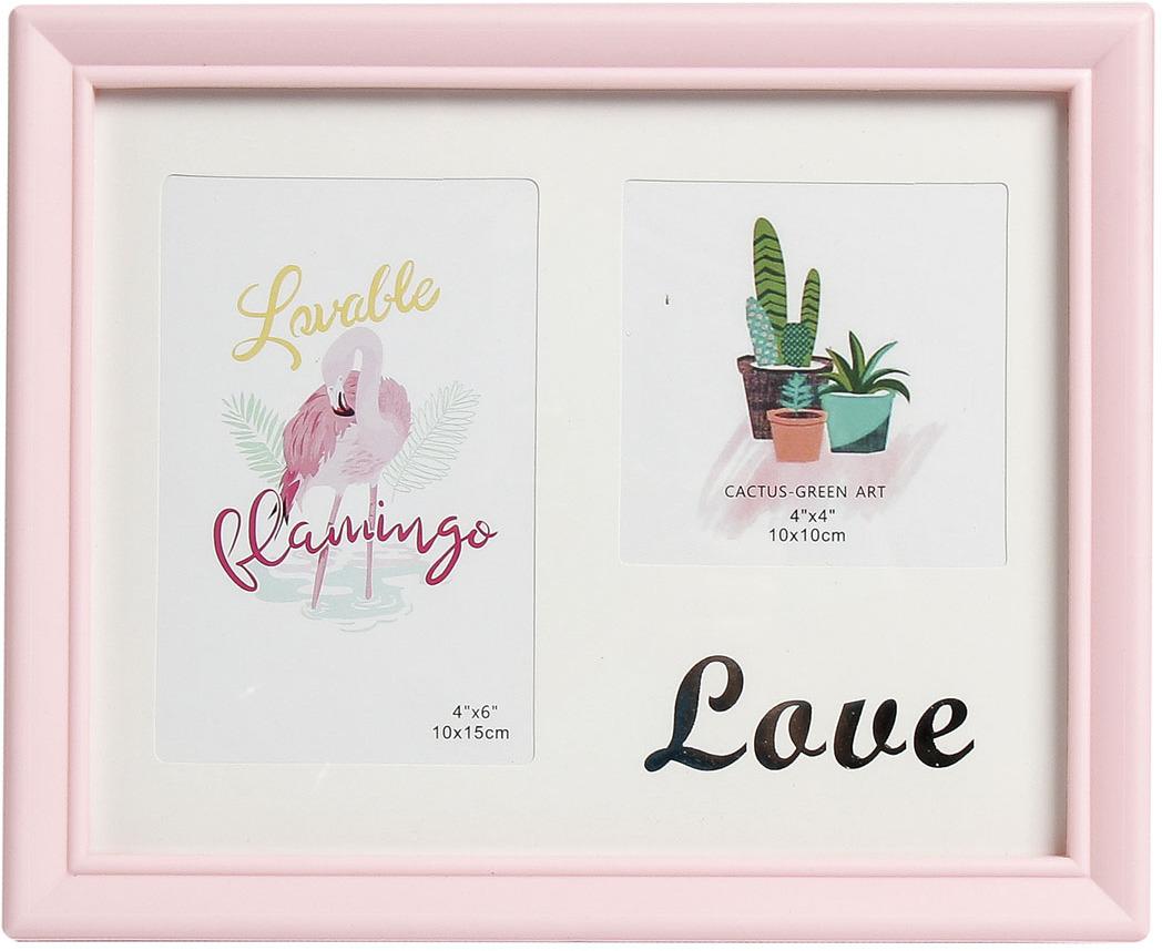 Фоторамка Любовь, на 2 фото, с паспарту, 3930101, розовый, 28 х 23 х 2,5 см
