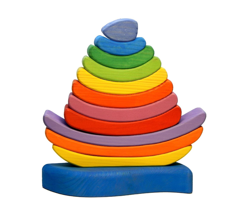 Развивающая игрушка ЧУДЕВО Кораблик - пирамидка РАДУГА цена