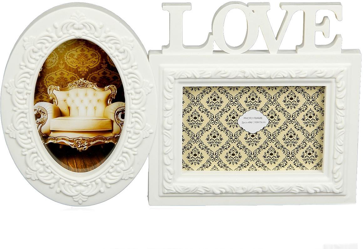 Фоторамка Любовь, на 2 фото, 895629, белый, 2 х 34,5 х 20 см