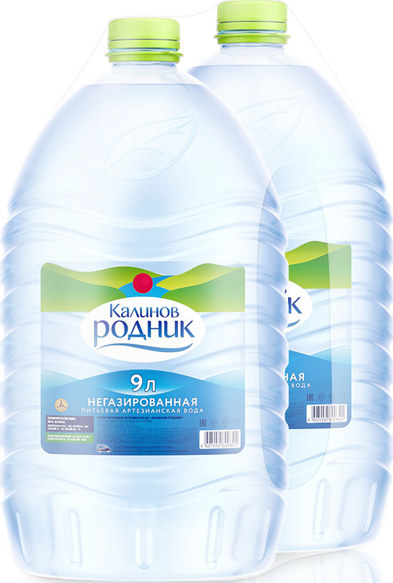 Вода Калинов Родник питьевая артезианская негазированная, 2 шт по 9 л вода калинов родничок для детей 6 шт по 2 0 л