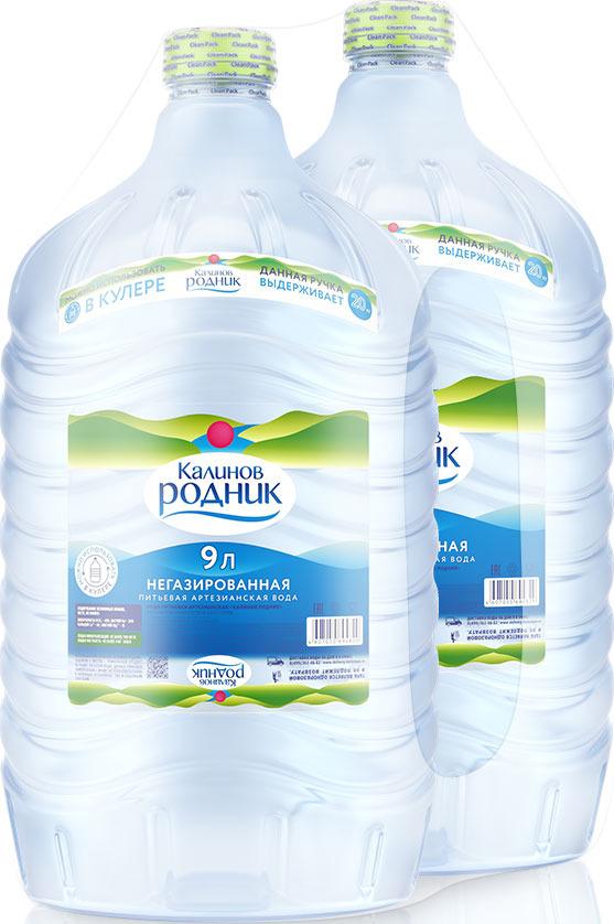 Вода Калинов Родник питьевая артезианская негазированная, для кулера, 2 шт по 9 л вода калинов родничок для детей 2 шт х 6 0 л