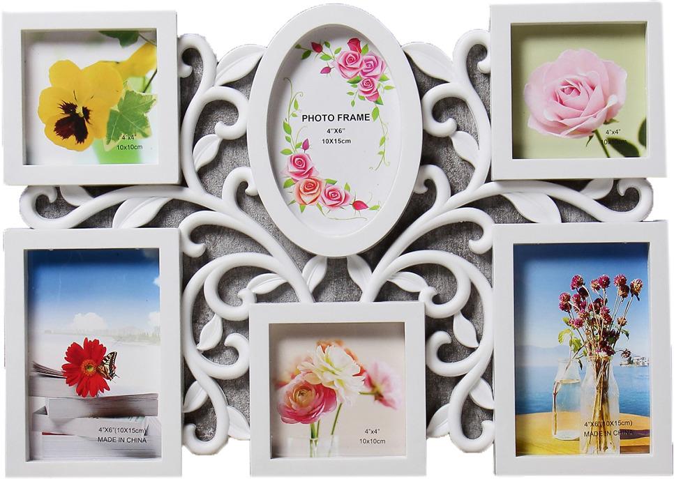Фоторамка Растительный орнамент, на 6 фото, 4146839, белый, 44 х 31,5 х 2 см цифровая фоторамка digma pf 733 white