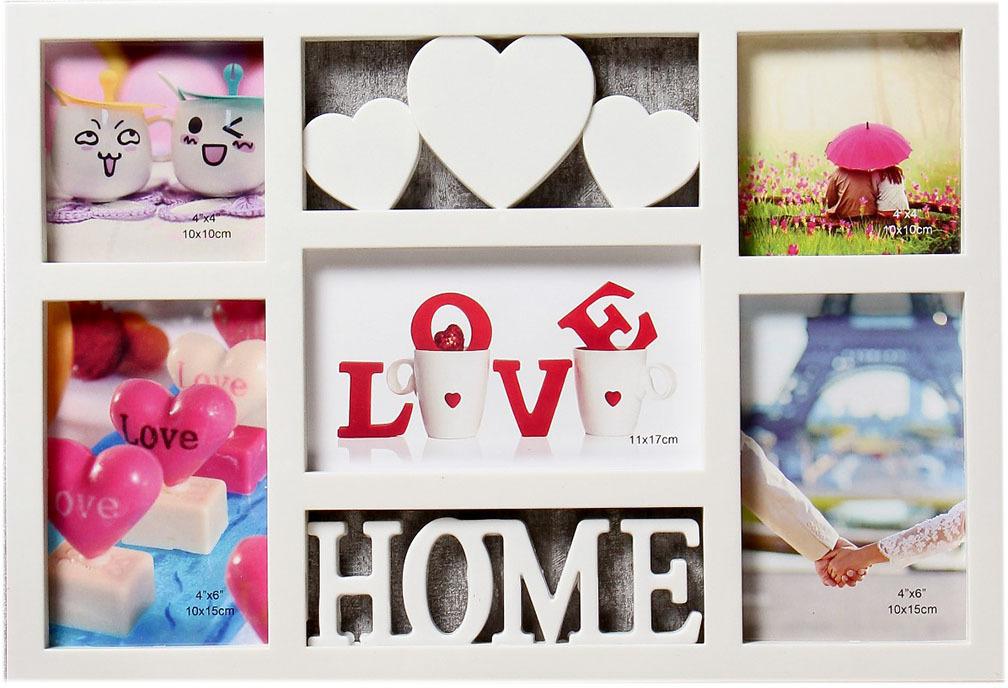 Фоторамка Три сердца - дом, на 5 фото, 4146823, белый, 41 х 28,5 х 2 см