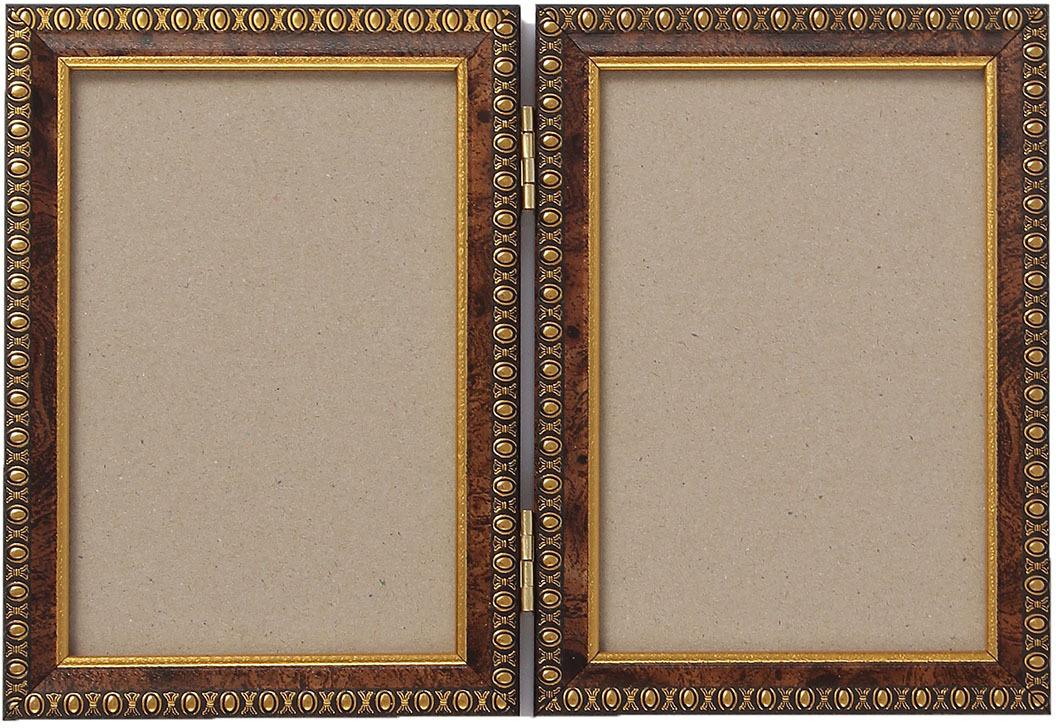 Фоторамка, двойная, 3983993, коричневый, 17,5 х 12,5 х 2,5 см