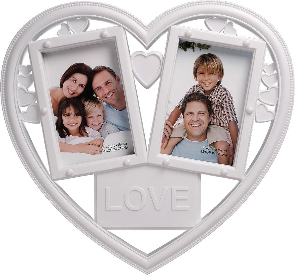 Две фото в рамку с сердечками