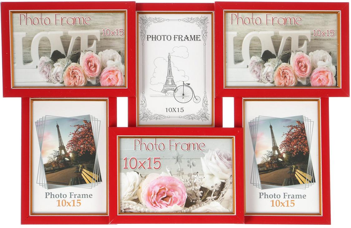 Фоторамка, на 6 фото, 3573207, красный, 29 х 45 см, размер фото 10 х 15 см украшения 30 х годов фото