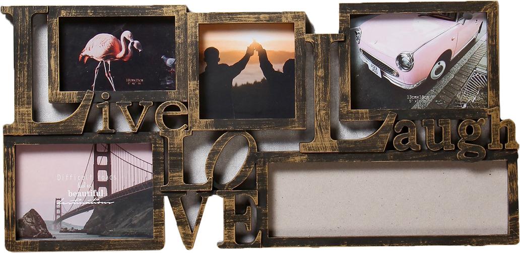 Фоторамка Жизнь, любовь, смех, на 5 фото, 4146852, золотой, 64,5 х 31,5 х 2,5 см