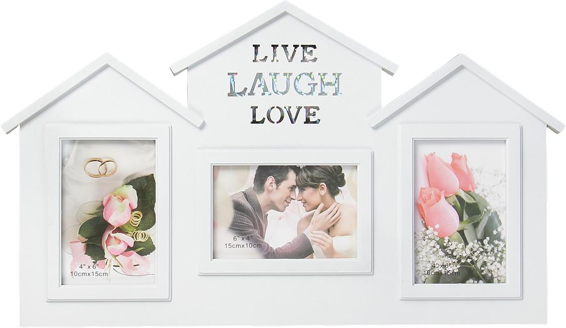 Фоторамка Дом - жизнь, смех, любовь, на 3 фото, 3930151, белый, 55 х 33 х 2,5 см