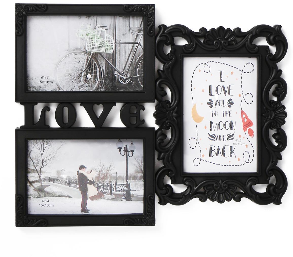 Фоторамка Любовь моя, на 3 фото, 3722055, черный, 33 х 27 х 2,5 см