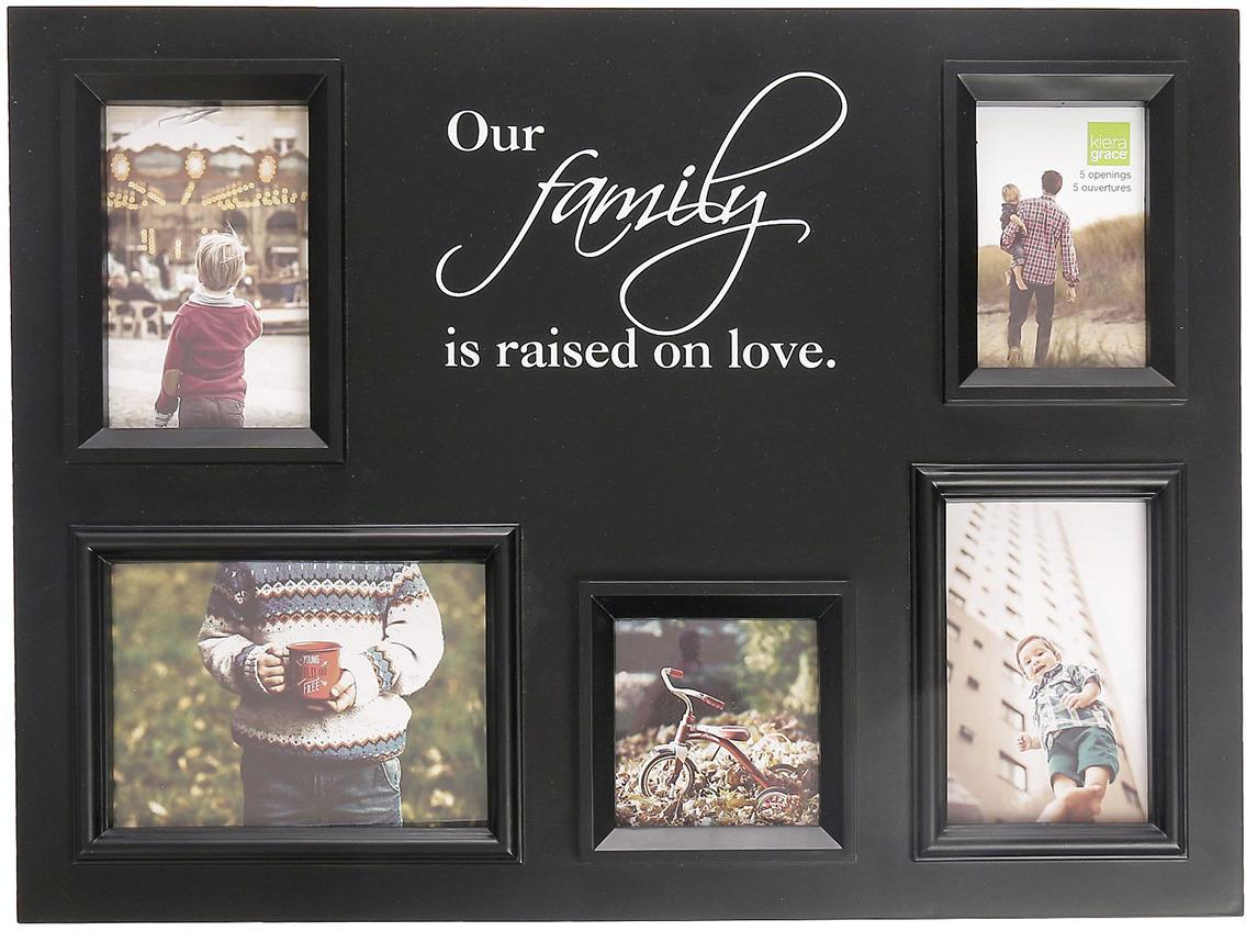 Фоторамка Наша семья, на 5 фото, 2751011, черный, 3 х 55 х 41 см фоторамка магнит наша кроха 6 5 х 7 см 915918