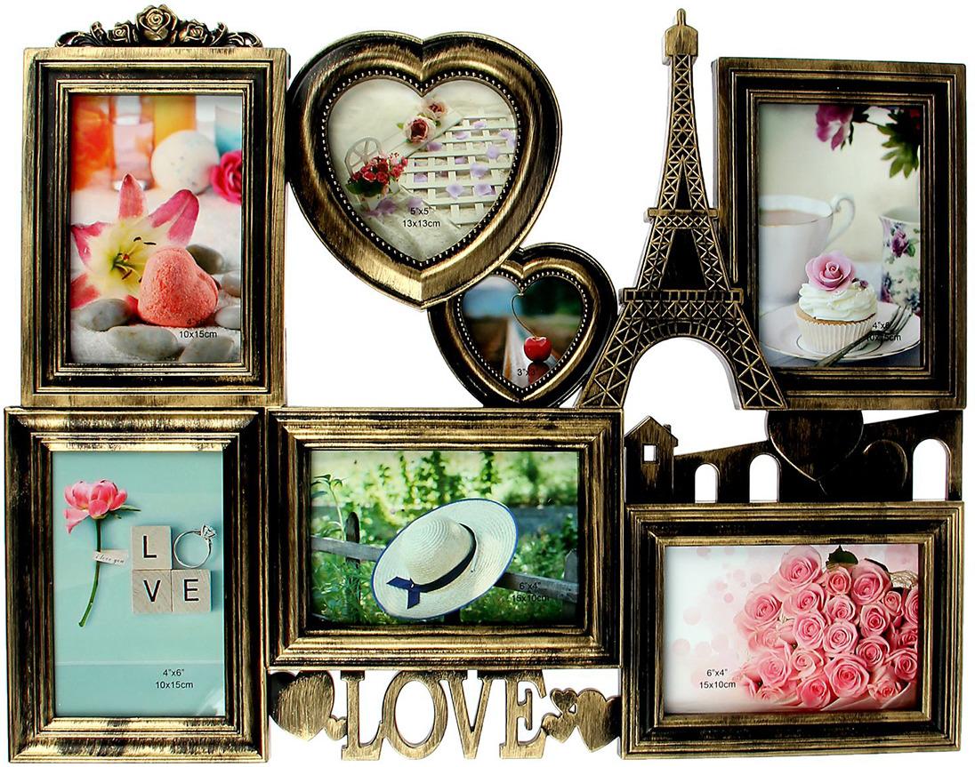 Фоторамка Любовь по-французски, на 7 фото, 1353305, бронза, 50 х 38,5 см зоя святогорова лиже брак по русски или любовь по французски
