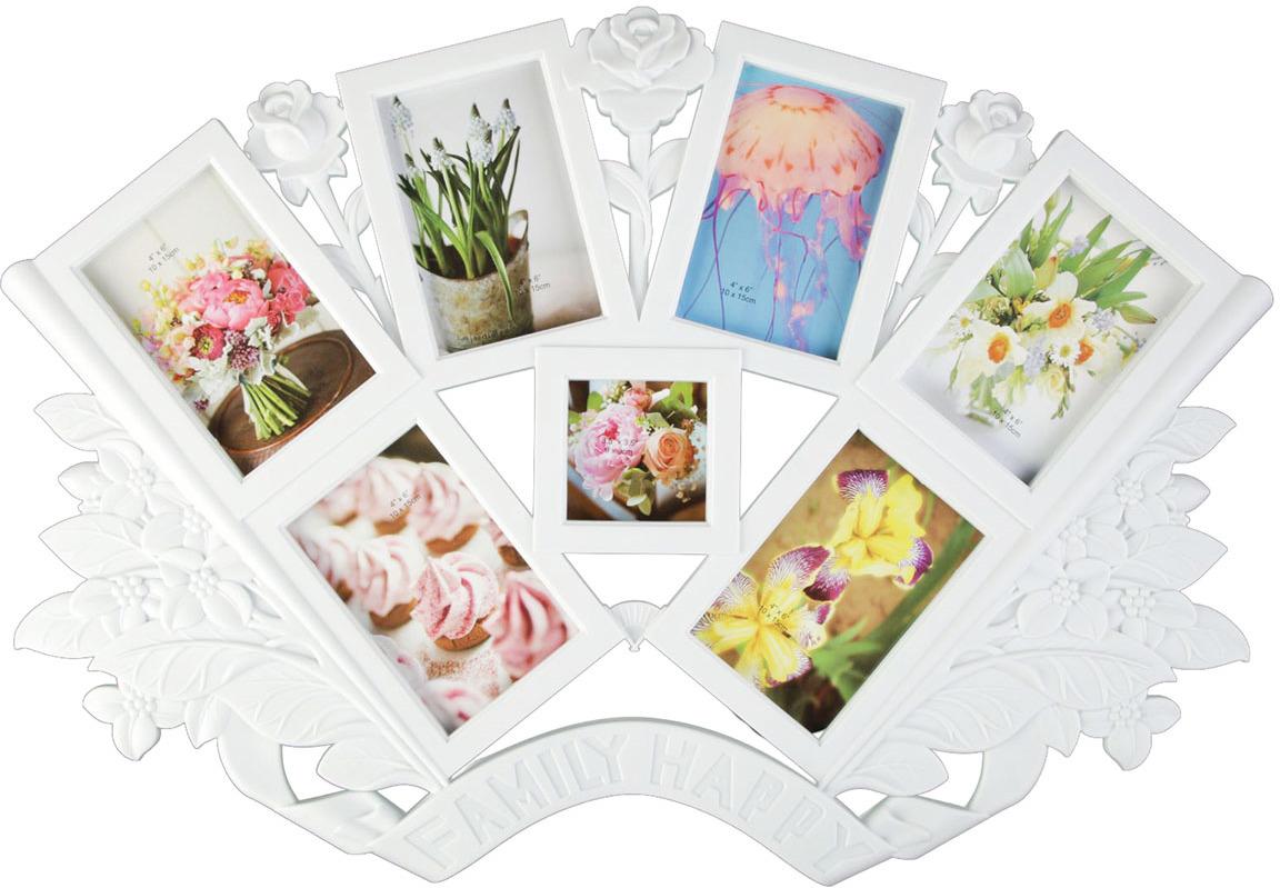 Фоторамка Букет роз, на 7 фото, 2343672, белый, 2 х 67 х 36 см