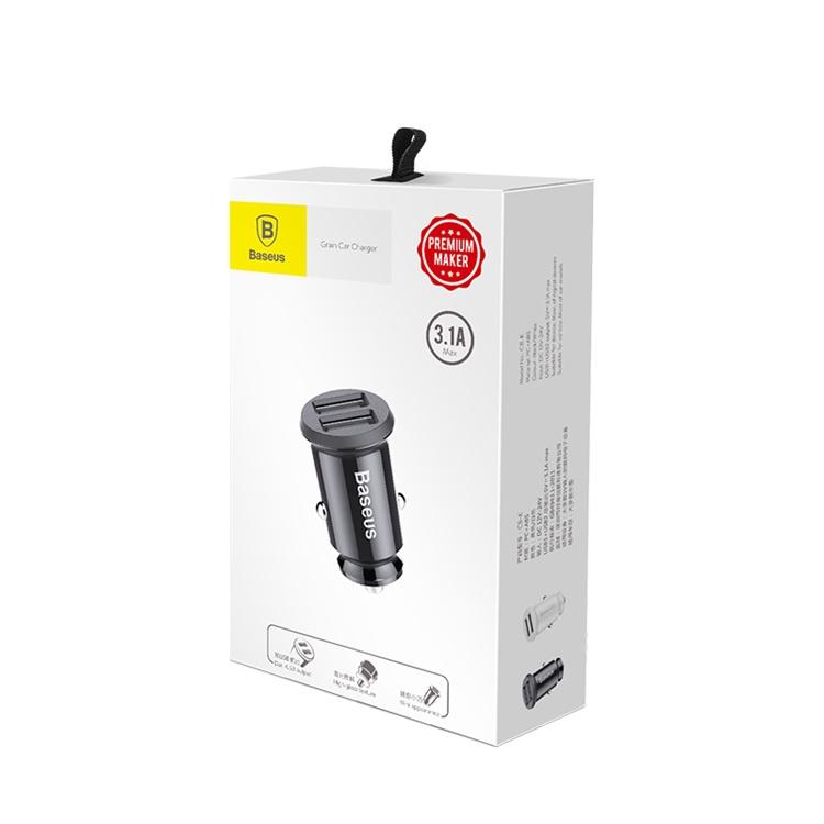 Автомобильное зарядное устройство (в прикуриватель) Baseus Grain Car Charger, черный sven usb car charger c 123 black автомобильное зарядное устройство