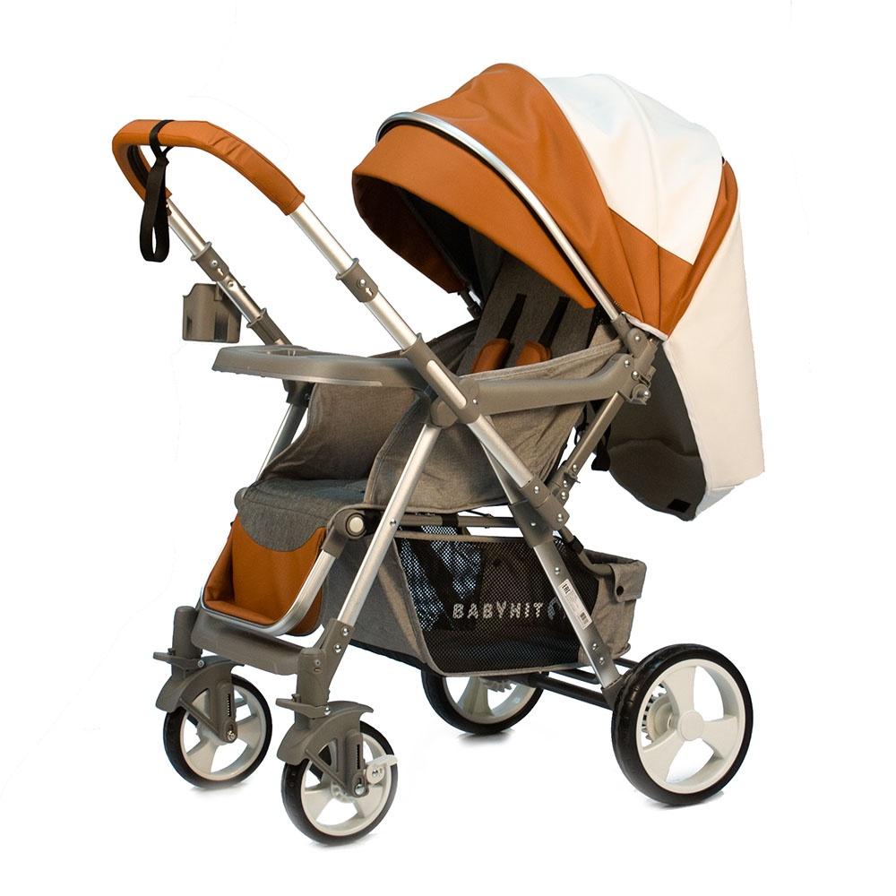 Коляска прогулочная Babyhit SENSE_ECO горчичный, белый прогулочная коляска babyhit trinity orange strips