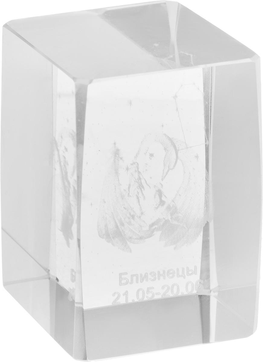 Брелок Miland Стеклянный куб Близнецы, малый, НУ-8520, прозрачный