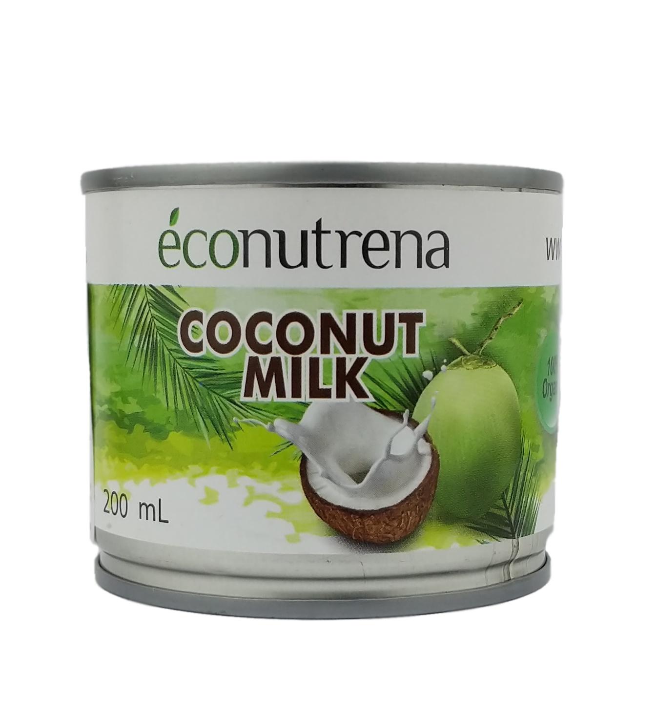 Растительное молоко Econutrena Кокосовое органическое, жирность 17%, без стабилизаторов Жестяная банка, 200