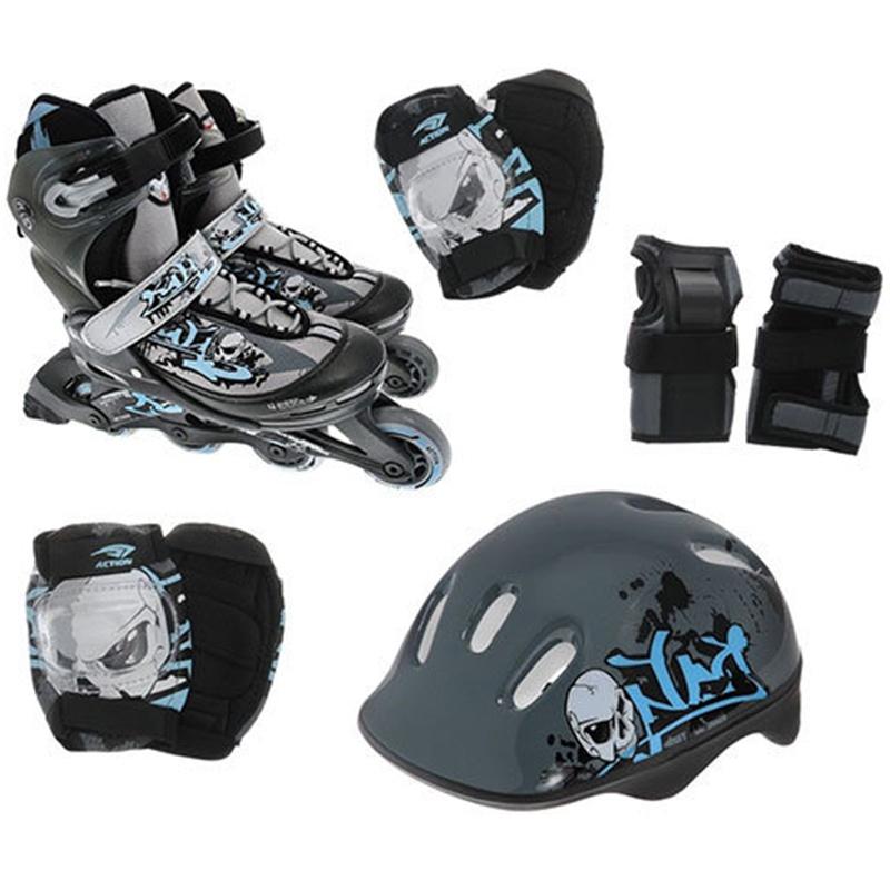 Комплект: Роликовые коньки+защита Action