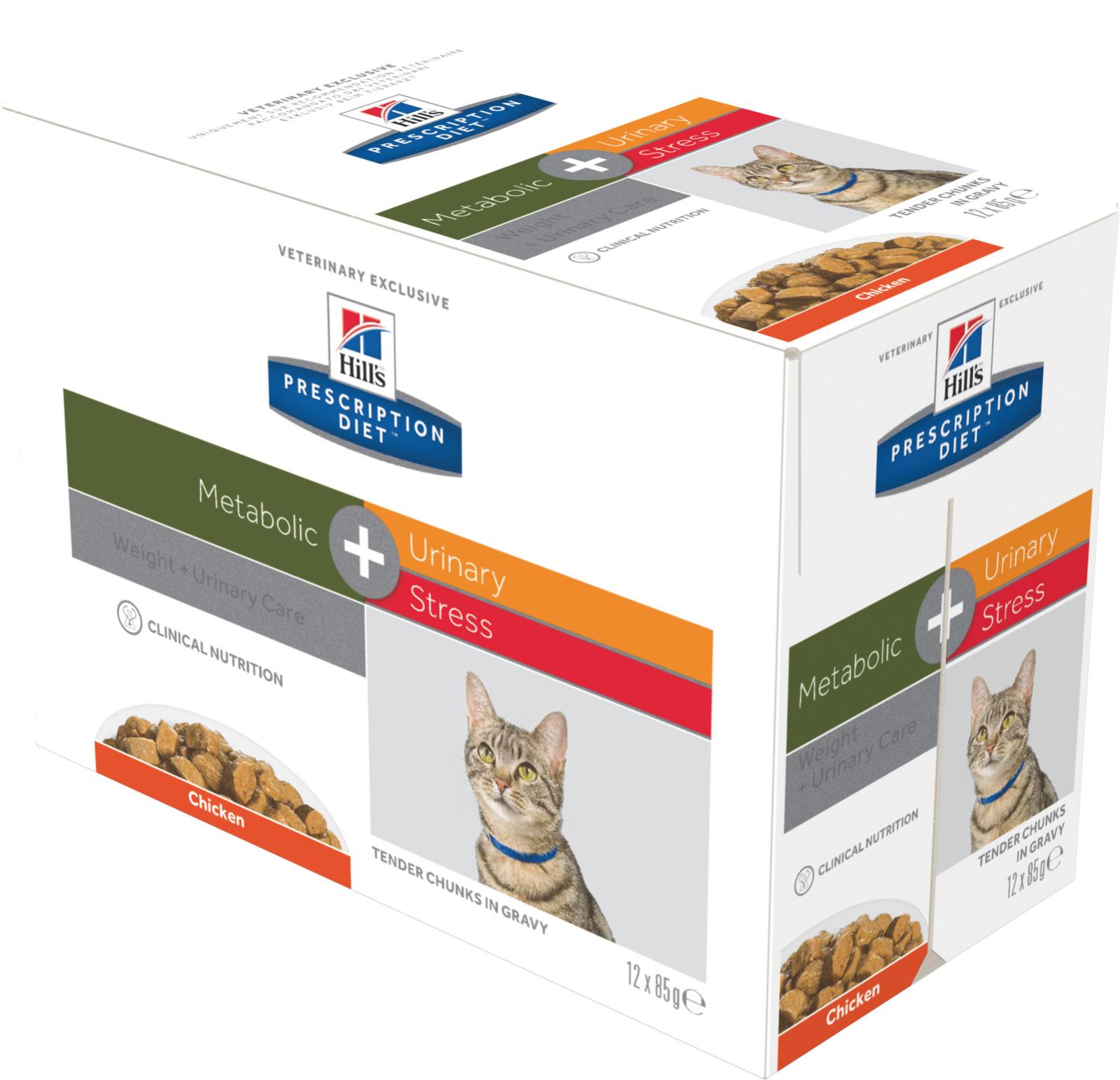 Корм влажный для кошек Hill's Prescription Diet Metabolic + Urinary Stress Feline, для коррекции веса и поддержания здоровья при мочекаменной болезни, с курицей, 12 шт x 85 г (3750)