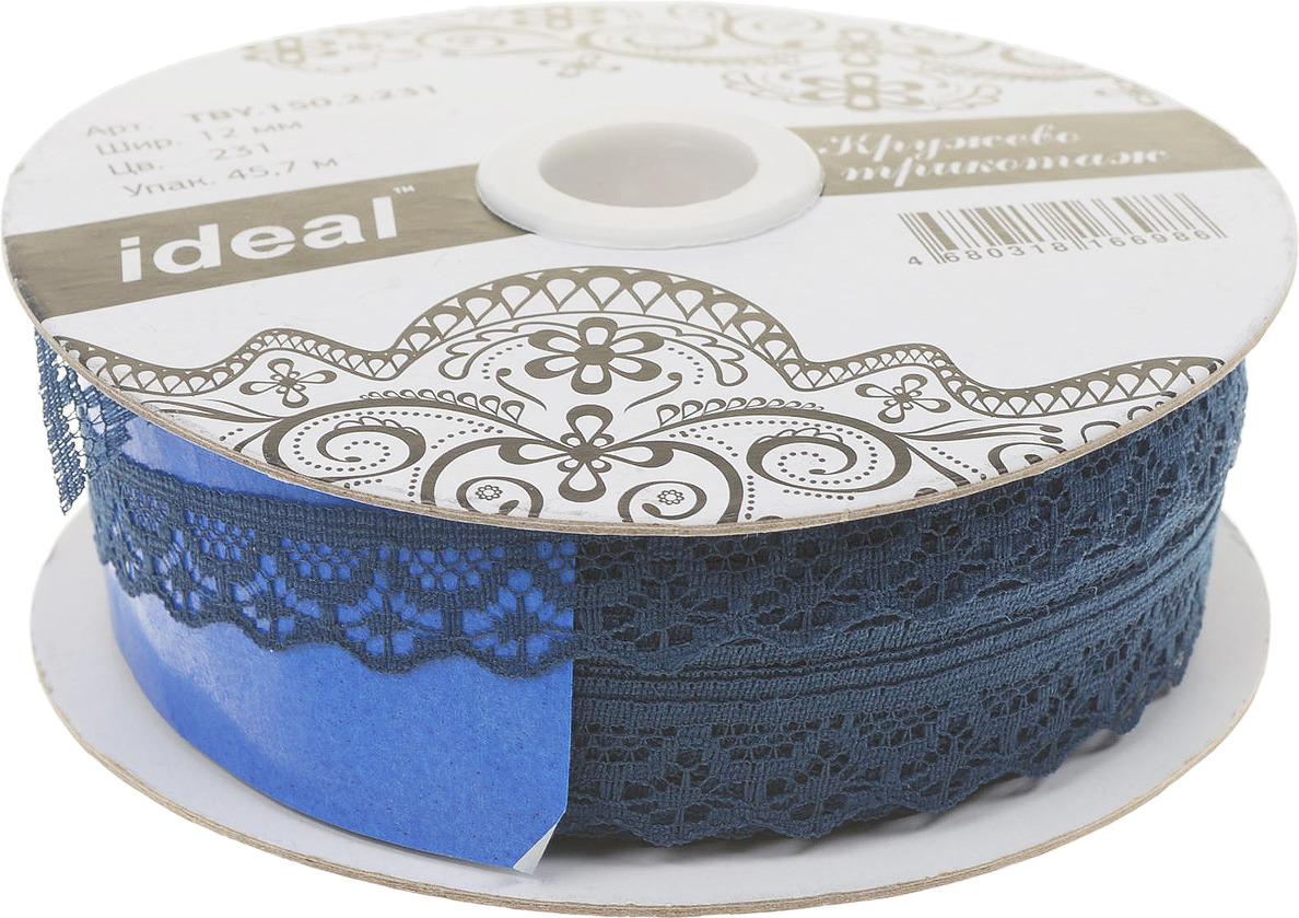 Фото - Тесьма IDEAL кружевная, темно-синий, 1,2 см, 45,7 м тесьма ideal кружевная персиковый 4 см 45 7 м